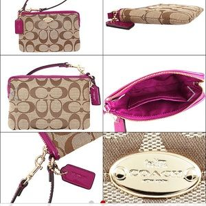 A NEW Coach monogram wristlet with gold hardware.